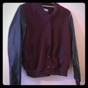 Forever 21 letterman style jacket maroon black